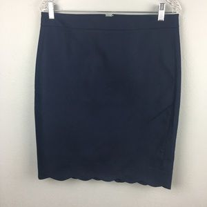 BNWT J CREW NAVY SKIRT SCALLOPED EDGE SIZE 0